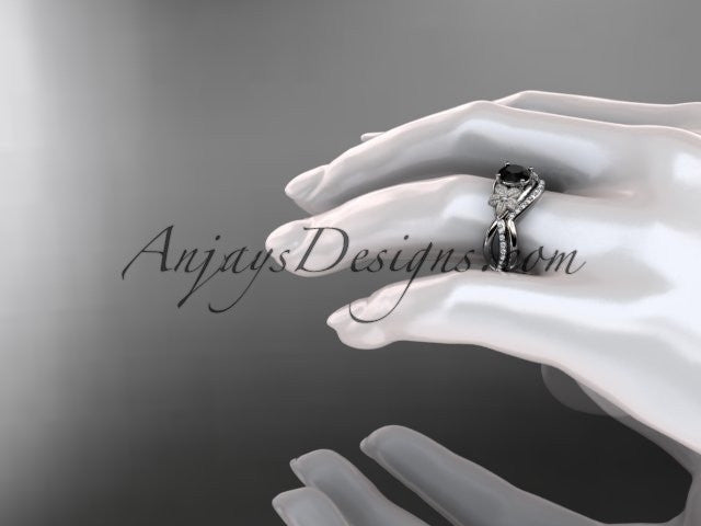 14k white gold diamond leaf and vine wedding ring, engagement set with a Black Diamond center stone ADLR90S - AnjaysDesigns
