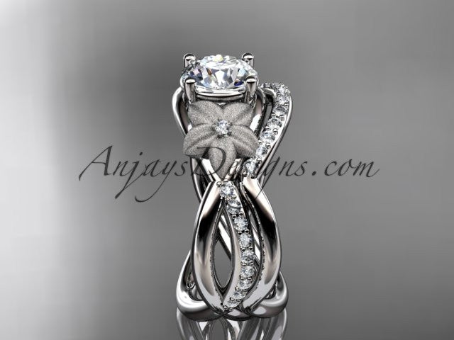 14k white gold diamond leaf and vine wedding ring, engagement set ADLR90S - AnjaysDesigns