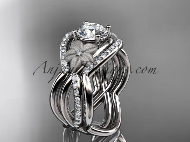 14kt white gold diamond leaf and vine wedding ring, engagement ring with double matching band ADLR90S - AnjaysDesigns