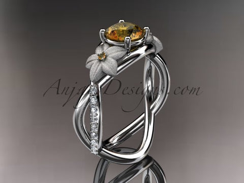 14kt white gold diamond leaf and vine birthstone ring ADLR90 Citrine November\'s birthstone. nature inspired jewelry - AnjaysDesigns