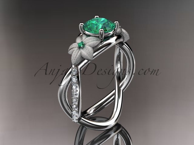 14kt white gold diamond leaf and vine birthstone ring ADLR90 Emerald - May\'s Birthstone. nature inspired jewelry - AnjaysDesigns