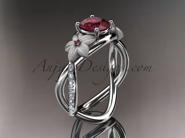 14kt white gold diamond leaf and vine birthstone ring ADLR90 Garnet - January\'s birthstone - AnjaysDesigns