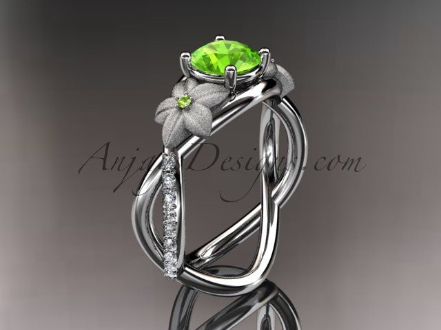 14kt white gold diamond leaf and vine birthstone ring ADLR90 Peridot - August\'s birthstone. nature inspired jewelry - AnjaysDesigns