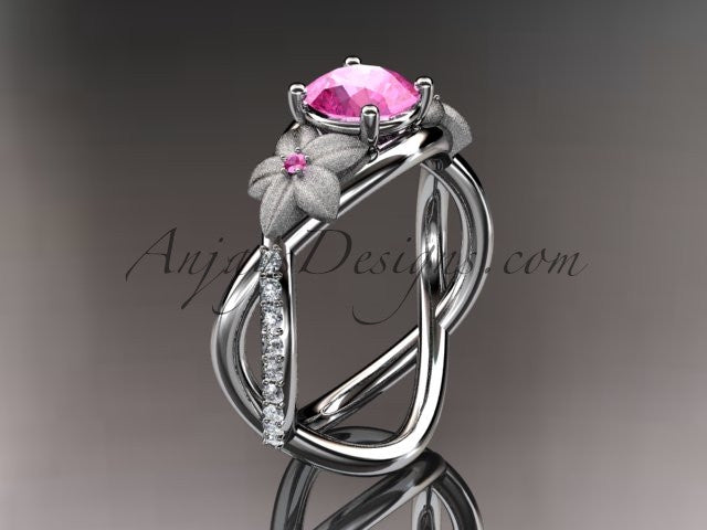 14kt white gold diamond leaf and vine birthstone ring ADLR90 Pink Tourmaline - October\'s birthstone.nature inspired jewelry - AnjaysDesigns