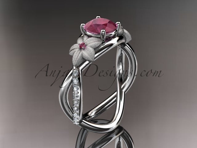 14kt white gold diamond leaf and vine birthstone ring ADLR90 Ruby - July\'s birthstone. nature inspired jewelry - AnjaysDesigns