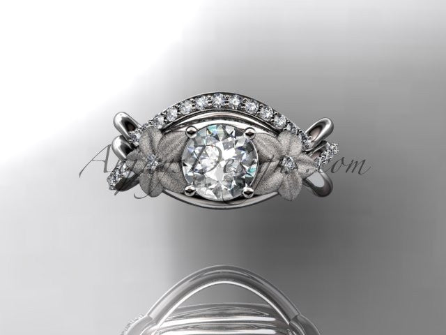 platinum diamond leaf and vine wedding ring, engagement set ADLR90 - AnjaysDesigns