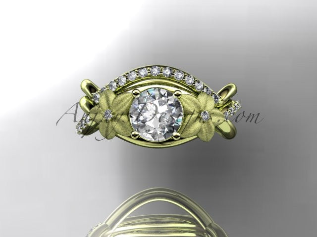 14kt yellow gold diamond leaf and vine wedding ring, engagement set ADLR90 - AnjaysDesigns
