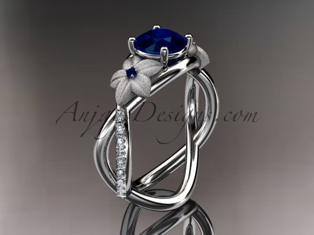 14kt white gold diamond leaf and vine birthstone ring ADLR90 Sapphire - September\'s birthstone. nature inspired jewelry - AnjaysDesigns