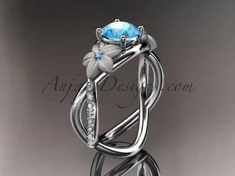 14kt white gold diamond leaf and vine birthstone ring ADLR90 Blue Topaz - December\'s Birthstone. nature inspired jewelry - AnjaysDesigns