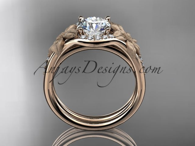 14kt rose gold diamond leaf and vine wedding ring, engagement set ADLR91 nature inspired jewelry - AnjaysDesigns