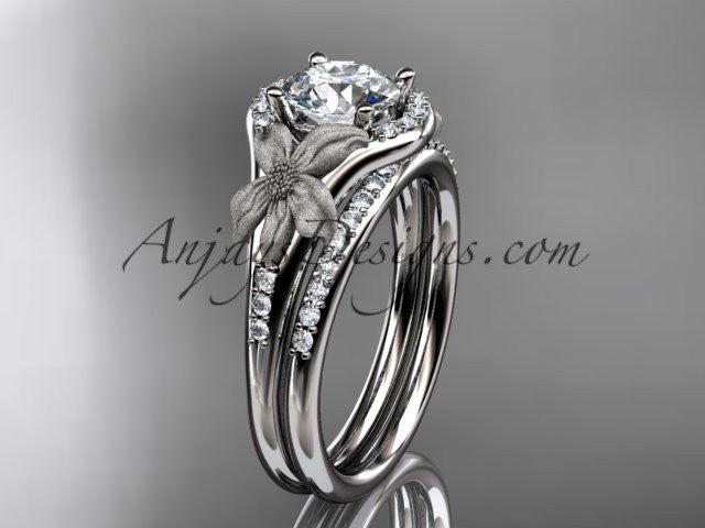 14kt white gold diamond leaf and vine wedding ring, engagement set ADLR91 nature inspired jewelry - AnjaysDesigns