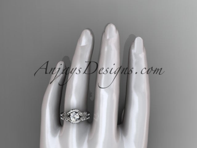 platinum diamond leaf and vine wedding ring, engagement set ADLR91 nature inspired jewelry - AnjaysDesigns