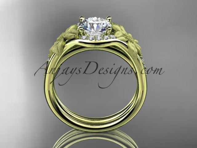 14kt yellow gold diamond leaf and vine wedding ring, engagement set ADLR91 nature inspired jewelry - AnjaysDesigns