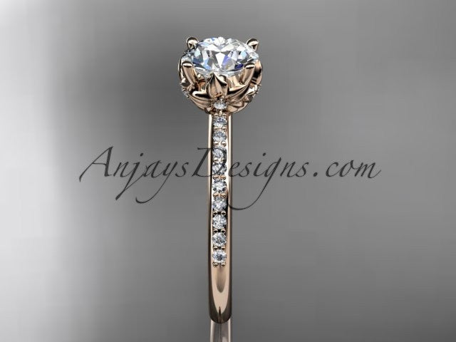 14kt rose gold diamond floral wedding ring, engagement ring ADLR92 - AnjaysDesigns