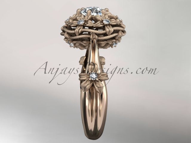 "14kt rose gold diamond floral, leaf and vine ""Basket of Love\"" ring ADLR94 nature inspired jewelry - AnjaysDesigns"