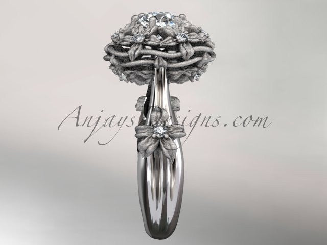 "platinum diamond floral, leaf and vine ""Basket of Love\"" ring ADLR94 nature inspired jewelry - AnjaysDesigns"