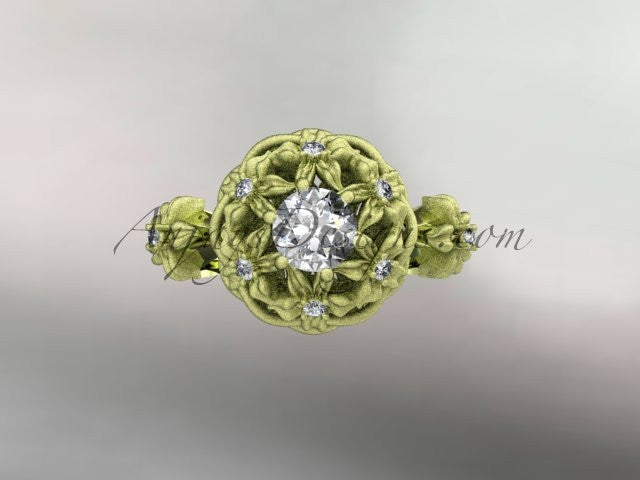 "14kt yellow gold diamond floral, leaf and vine ""Basket of Love\"" ring ADLR94 nature inspired jewelry - AnjaysDesigns"