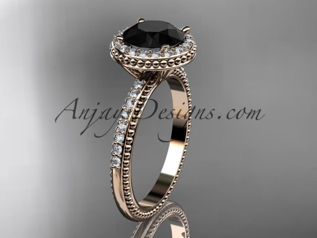 14kt rose gold diamond unique engagement ring, wedding ring with a Black Diamond center stone ADER95 - AnjaysDesigns