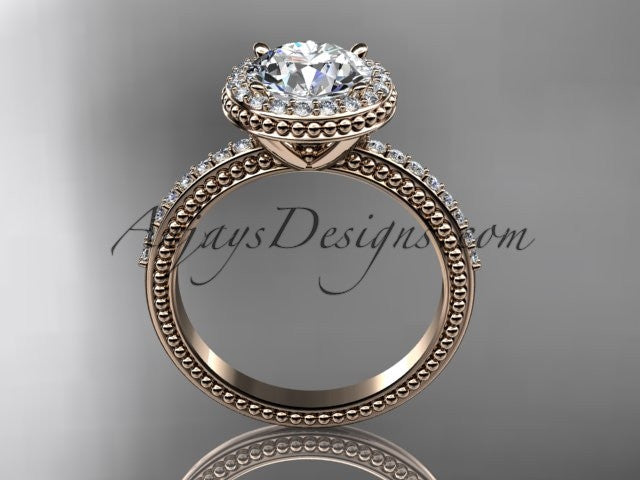 14kt rose gold diamond unique engagement ring, wedding ring ADER95 - AnjaysDesigns