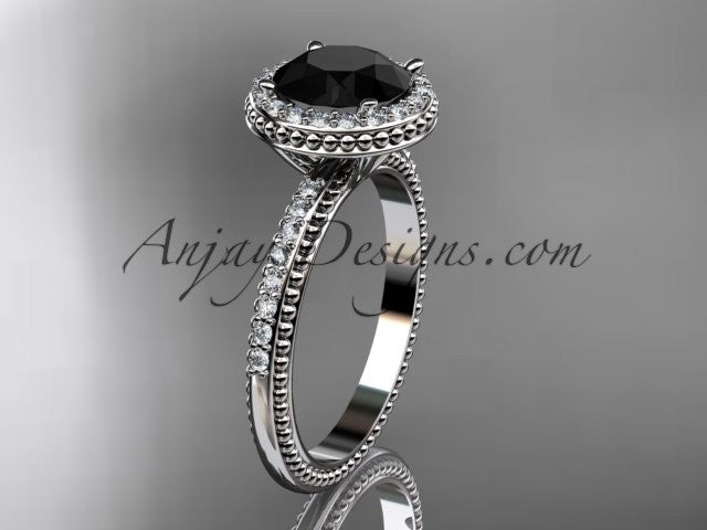 14kt white gold diamond unique engagement ring, wedding ring with a Black Diamond center stone ADER95 - AnjaysDesigns
