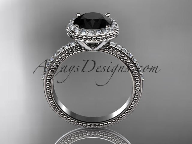 platinum diamond unique engagement ring, wedding ring with a Black Diamond center stone ADER95 - AnjaysDesigns