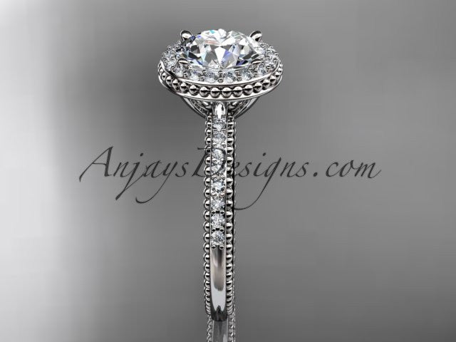 14kt white gold diamond unique engagement ring,  wedding ring ADER95 - AnjaysDesigns