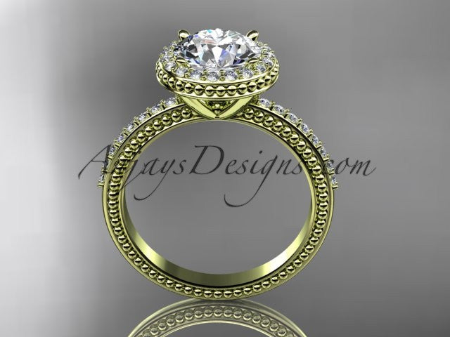14kt yellow gold diamond unique engagement ring, wedding ring ADER95 - AnjaysDesigns