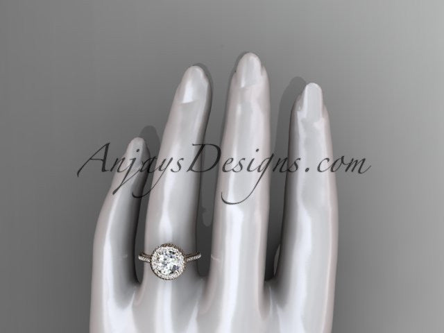 14kt rose gold diamond unique engagement ring, wedding ring ADER97 - AnjaysDesigns