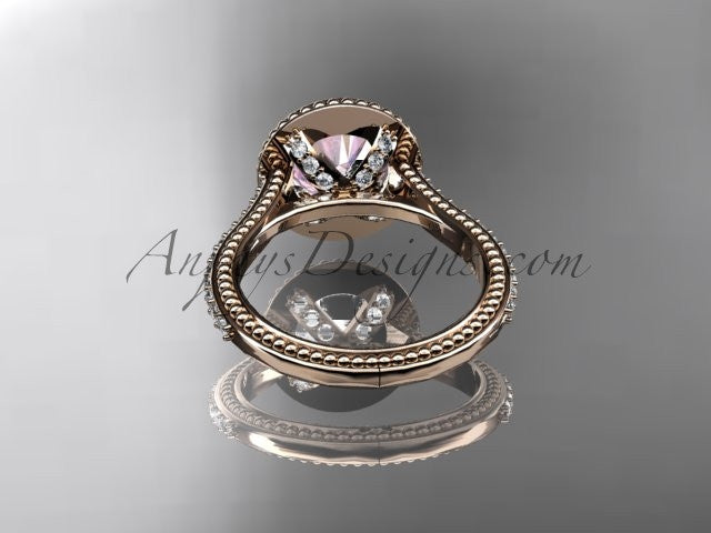 14kt rose gold diamond unique engagement ring, wedding ring with a Morganite center stone ADER97 - AnjaysDesigns
