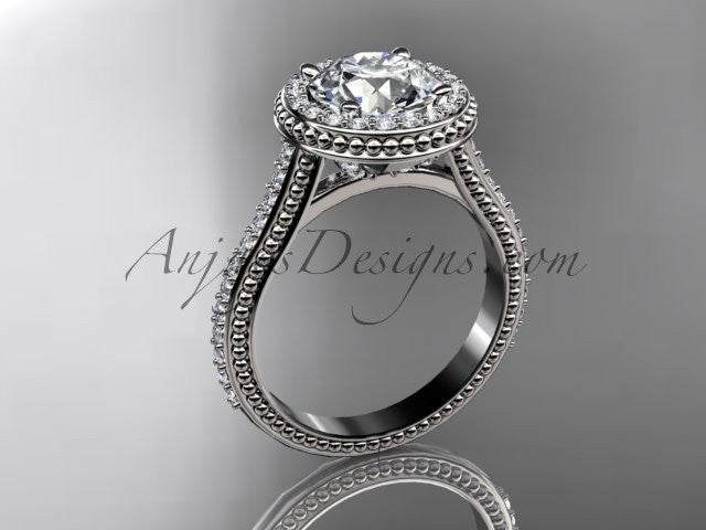 platinum diamond unique engagement ring, wedding ring ADER97 - AnjaysDesigns