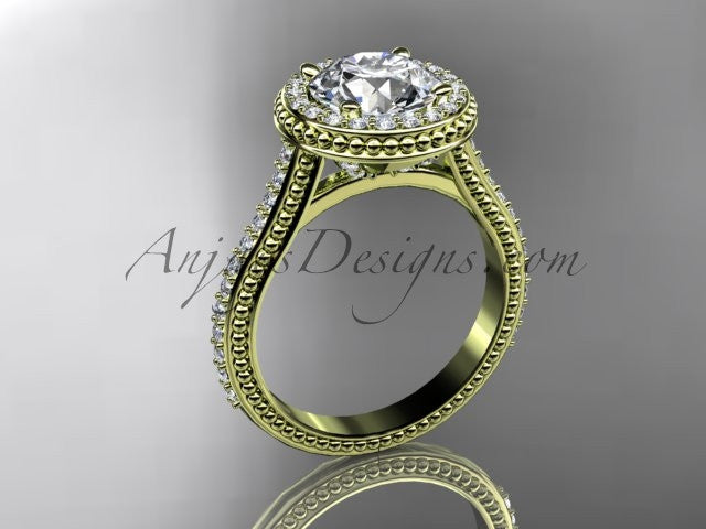 14kt yellow gold diamond unique engagement ring, wedding ring ADER97 - AnjaysDesigns