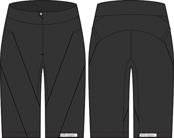 Black. Tailored to fit, rather than relying on constrictive cinches or elastic, the DirtBaggies VENT short has vented mesh panels, super stretchy slash pockets, a stretch waistband (with a secret pocket that'll keep your phone or wallet snug against your body) and tethers to keep it secured to your bib-liner