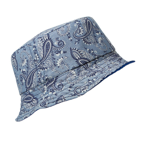 L. Blue Pasley Reversible Bucket Hat