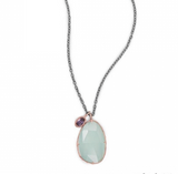 Chalcedony and Iolite Drop Necklace - Seraphim Jewelry - 2
