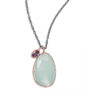 Chalcedony and Iolite Drop Necklace - Seraphim Jewelry - 1