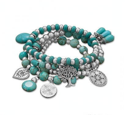 4 Silver & Turquoise Multi-charm Bracelets - Seraphim Jewelry
