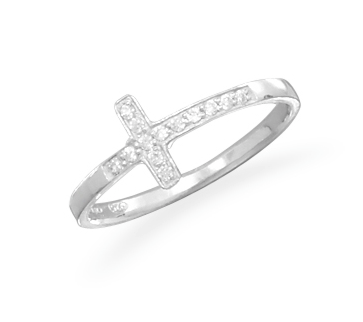 Rhodium Plated CZ Sideways Cross Ring - Seraphim Jewelry