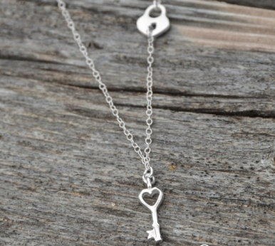 Sterling Silver Lock and Key Charm Necklace - Seraphim Jewelry