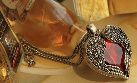 Boho Crystal Heart Angel Necklace - Seraphim Jewelry - 3