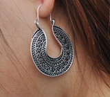 Boho Vintage Hoop Silver Earrings - Seraphim Jewelry - 2