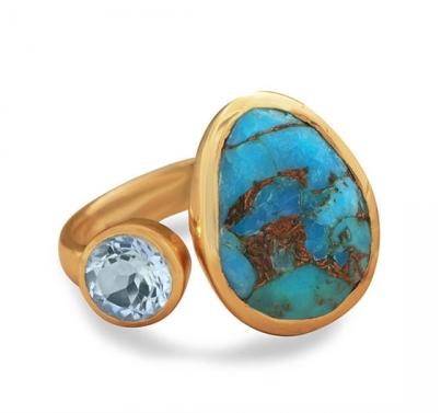 14 Karat Gold Plated Blue Topaz and Turquoise Ring - Seraphim Jewelry