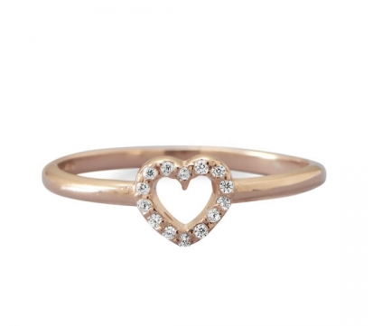 14 K Rose Gold PlatedHeart Ring - Seraphim Jewelry