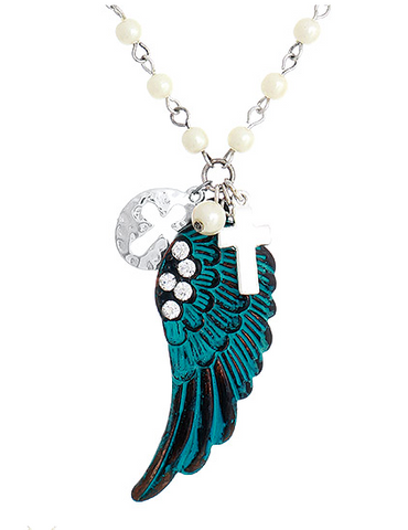 ANGEL WINGS AND CROSS Charm Necklace - Seraphim Jewelry