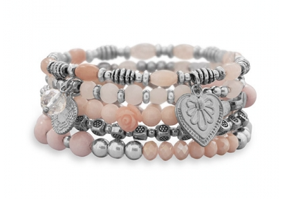 5 Pink Tone Bead and Charm Stretch Bracelets - Seraphim Jewelry
