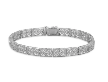 CZ Sterling Filigree Bracelet - Seraphim Jewelry - 1
