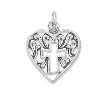 Heart Charm with Cross Outline - Seraphim Jewelry