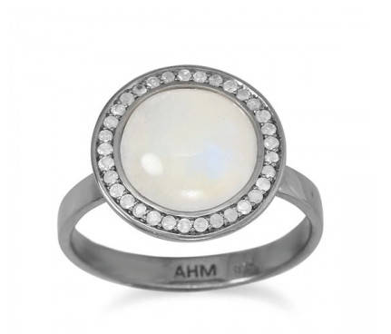 Gray Diamond and Moonstone ring - Seraphim Jewelry