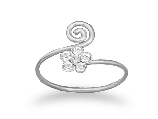 Wrap Toe Ring with Clear Crystal Flower - Seraphim Jewelry