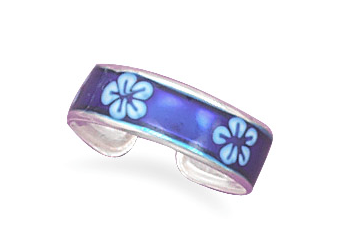 Blue Epoxy Floral Toe Ring - Seraphim Jewelry