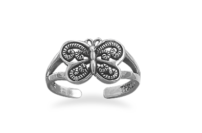 Sterling Silver Butterfly Toe Ring - Seraphim Jewelry